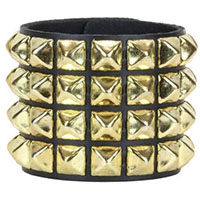4 Row BRASS Pyramid Bracelet by Funk Plus- Black Leather