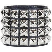 4 Row Pyramid Bracelet by Funk Plus- Black Leather