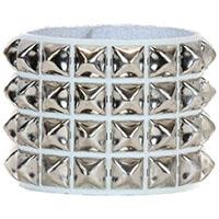 4 Row Pyramid Bracelet by Funk Plus- White Leather