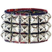 3 Row Pyramid Bracelet by Funk Plus- Blue Plaid