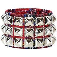 3 Row Pyramid Bracelet by Funk Plus- Red Plaid