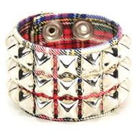 3 Row Pyramid Bracelet by Funk Plus- White Plaid