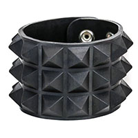 3 Row Pyramid Bracelet by Funk Plus- Black Rubber