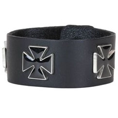 Iron Crosses on a Snap Black Leather Bracelet by Funk Plus