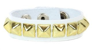 1 Row White Leather Brass Pyramid Bracelet by Funk Plus