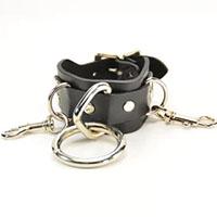 1 Ring & 2 Clip Black Leather Bracelet by Funk Plus