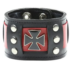 Iron Crosses on a Black & Red Riveted Snap Black Leather Bracelet by Funk Plus