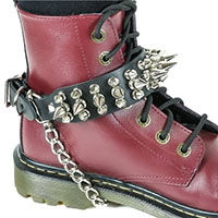 """2 Rows 1/2"""" Spikes And 1 Row 1"""" Spikes Boot Strap With Chain by Funk Plus"""