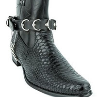 D-Rings Black Leather Bootstrap by Funk Plus