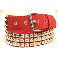 3 Rows Of Pyramids on a RED CANVAS belt by Funk Plus (Vegan)
