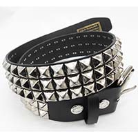 3 Rows Of Pyramids on a BLACK LEATHER belt by Funk Plus