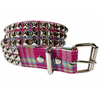 3 Rows Of Pyramids on a PINK PLAID belt by Funk Plus