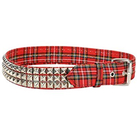 3 Rows Of Pyramids on a RED PLAID belt by Funk Plus
