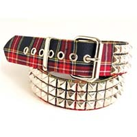 3 Rows Of Pyramids on a RED & BLUE PLAID belt by Funk Plus