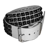 3 Rows Of Black Pyramids on a WHITE LEATHER belt by Funk Plus