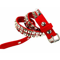 2 Rows Of Pyramids on a RED CANVAS belt by Funk Plus (Vegan)