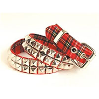 2 Rows Of Pyramids on a RED PLAID belt by Funk Plus (Vegan)