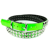2 Rows Of Pyramids on a GREEN PATENT belt by Funk Plus (Vegan)
