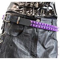 2 Rows Of PURPLE Pyramids on a BLACK LEATHER belt by Funk Plus