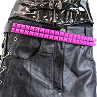 2 Rows Of PINK Pyramids on a BLACK LEATHER belt by Funk Plus