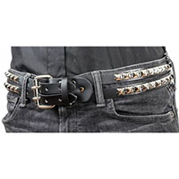 2 Single Row Connected Pyramids With Double Buckle on a BLACK LEATHER belt by Funk Plus