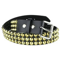 3 Rows Of Brass Cones on a BLACK LEATHER belt by Funk Plus