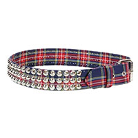 3 Rows Of Cones on a BLUE & RED PLAID belt by Funk Plus (Vegan)