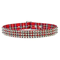3 Rows Of Cones on a RED PLAID belt by Funk Plus (Vegan)