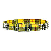 3 Rows Of Cones on a YELLOW PLAID belt by Funk Plus (Vegan)