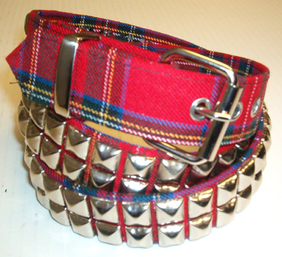 2 Row Pyramid Belt- Red Plaid (Non-Leather!)