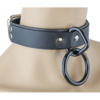 1 Black Ring Bondage Choker in Black Leather by Funk Plus