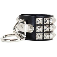 3 Rows Of Pyramids & 1 Ring Bondage Bracelet by Funk Plus- Black Leather