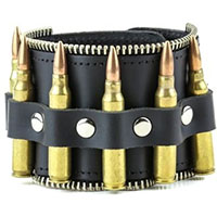 Bullet Bracelet With Zipper Edge by Funk Plus- Black Leather