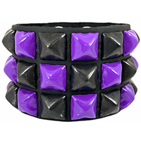 3 Row Checkered Pyramid Bracelet by Funk Plus- Black & Purple
