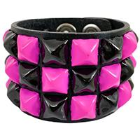 3 Row Checkered Pyramid Bracelet by Funk Plus- Black & Pink