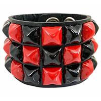 3 Row Checkered Pyramid Bracelet by Funk Plus- Black & Red