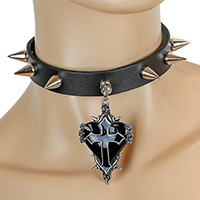 Cone Studs And Black Heart With Cross on a black leather choker by Funk Plus