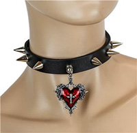Cone Studs And Red Heart With Cross on a black leather choker by Funk Plus
