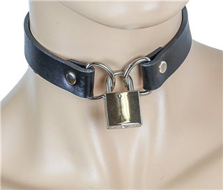 Black Leather Choker With Padlock by Funk Plus