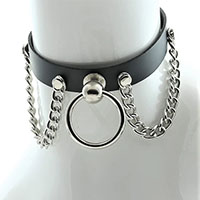 Black Leather Choker With Knocker Ring And 2 Hanging Chains by Funk Plus