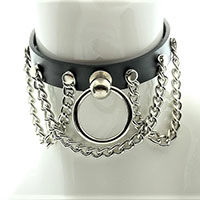 Black Leather Choker With Knocker Ring And Hanging Chains by Funk Plus