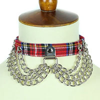 Red Plaid Choker With Hanging Chains by Funk Plus