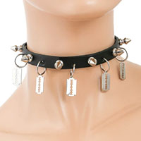 "1 Row 1/2"" Spikes And Razors on a Black Leather Choker by Funk Plus"