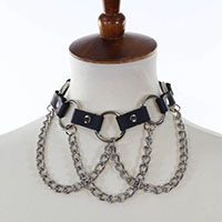 Hanging Chain Black Leather Choker by Funk Plus