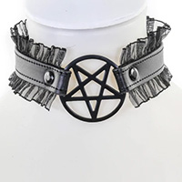 Pentagram (Black) On A Black Leather With Lace Choker by Funk Plus