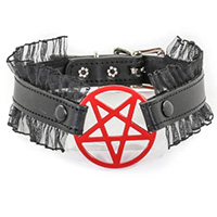 Pentagram (Red) On A Black Leather With Lace Choker by Funk Plus