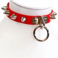 1 Row British Cones & Ring on a Red Patent (Vegan) Choker by Funk Plus