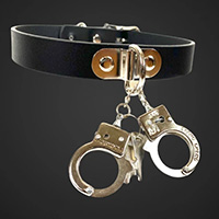 Black Leather Choker With Dangling Handcuffs by Funk Plus
