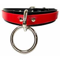 Black/Red Vegan Bondage Ring Choker by Funk Plus (Non-Leather)