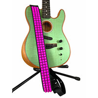 3 Rows Of Pink Pyramids Guitar Strap by Funk Plus